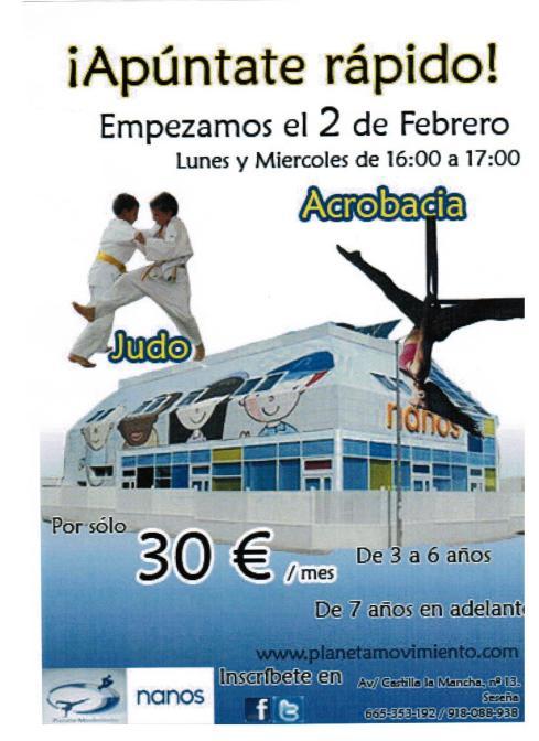 Cartel Acrobacias y Judo Seseña