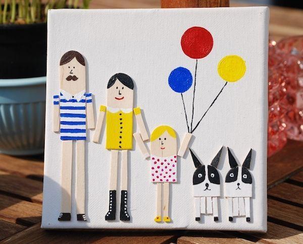 3 cuadros hechos en familia para decorar tu casa el blog - Manualidades en familia ...